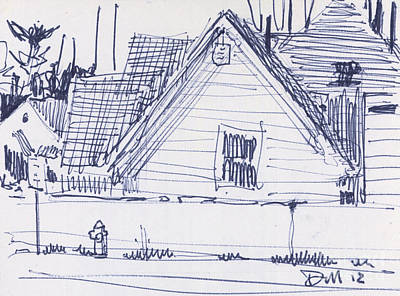 Pen Drawing - House Sketch One by Donald Maier