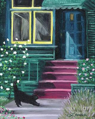 Cats. Victorian Painting - House With A Blue Door  by Laura Iverson