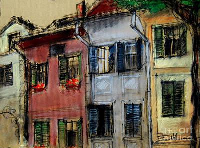 Romania Pastel - Houses In Transylvania 1 by Mona Edulesco
