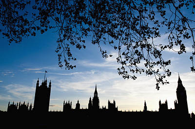 Houses Of Parliament Silhouette Print by Axiom Photographic