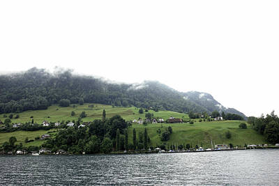 Houses On The Greenery Of The Slope Of A Mountain Next To Lake Lucerne Print by Ashish Agarwal