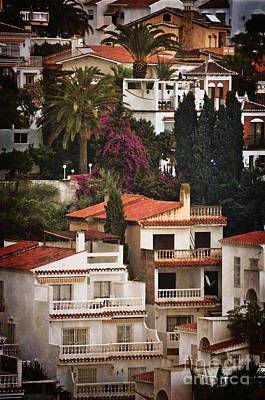 Houses On The Hill Nerja Print by Mary Machare