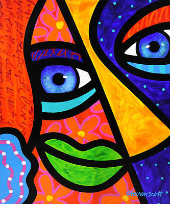 Abstract Faces Painting - How Do I Look by Steven Scott