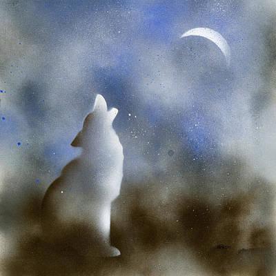 Moon Painting - Howling Wolf by Hakon Soreide