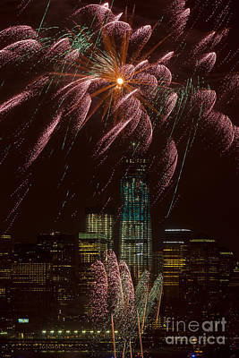 Hudson River Fireworks X Print by Clarence Holmes