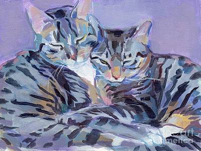 Hugs Purrs And Stripes Print by Kimberly Santini
