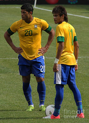 Hulk And Neymar Ready For The Shot Print by Lee Dos Santos