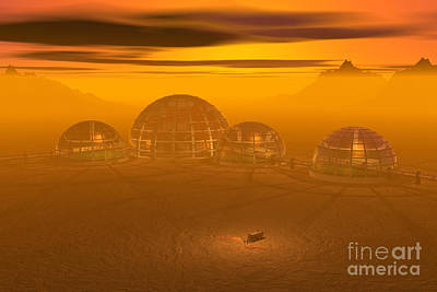 Human Settlement On Alien Planet Print by Carol and Mike Werner and Photo Researchers