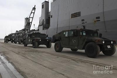 Japan Relief Photograph - Humvees Depart Uss Harpers Ferry by Stocktrek Images