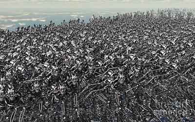Hundreds Of Robots Running Wild Print by Mark Stevenson