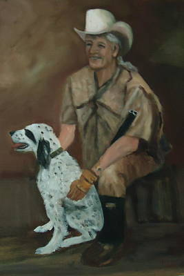 Hunting Dog And Master Print by Betty Pimm