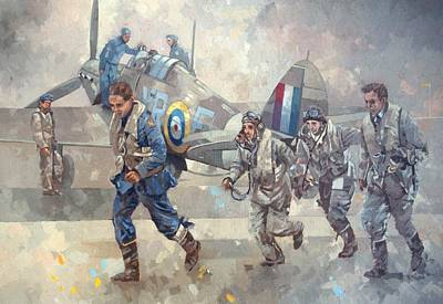 Airfield Painting - Hurrican Scamble  by Peter Miller