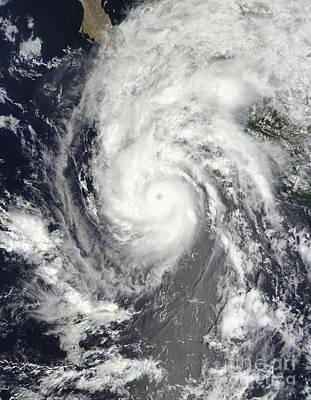 Landmass Photograph - Hurricane Jimena Approaching Baja by Stocktrek Images