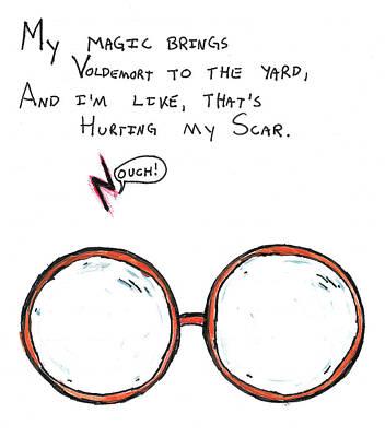 Wizard Drawing - Hurting My Scar by Jera Sky