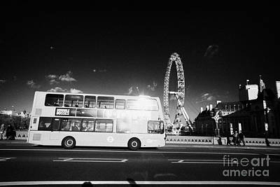 Hybrid Electric London Red Double Decker Bus Public Transport Crossing Westminster Bridge England Print by Joe Fox