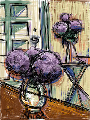 Glass Table Reflection Mixed Media - Hydrangeas Galore by Russell Pierce