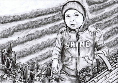 Strawberry Drawing - I Am Abundantly Blessed by Joy Neasley