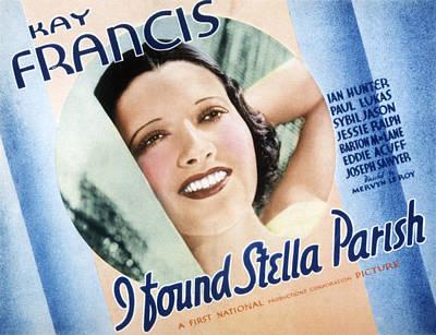 Posth Photograph - I Found Stella Parish, Kay Francis, 1935 by Everett