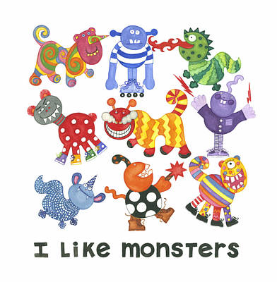 I Like Monsters Print by Barbara Esposito