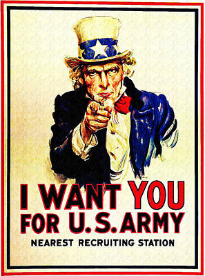 Uncle Sam Digital Art - I Want You by Bill Cannon