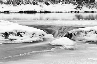 Cold Temperature Photograph - Ice And Snow On River by Fototstation Schoenau Juergen Olbricht