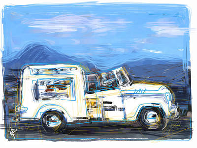 Ice Cream Truck Print by Russell Pierce