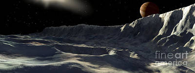 Crater Digital Art - Ice Scarp On Jupiters Large Moon by Ron Miller