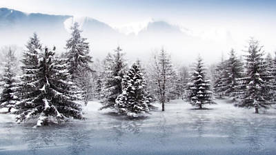 Snowy Digital Art - Iced Lake by Svetlana Sewell
