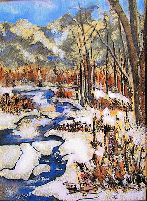 Icy River Print by Mary ann Barker