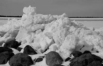 Icy Shoreline In Black And White Print by Janice Adomeit