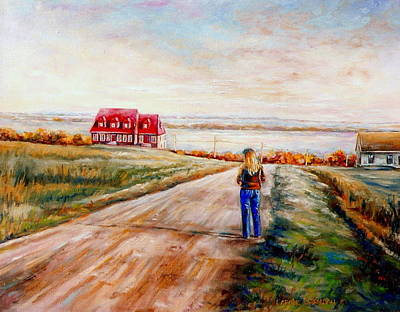 Quebec Art Painting - Ile D'orleans Road To The Red Gabled House Quebec Maritime Landscape by Carole Spandau