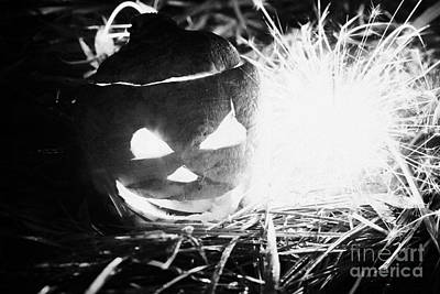Illuminated Halloween Turnip Jack-o-lantern With Sparkler To Ward Off Evil Spirits Print by Joe Fox