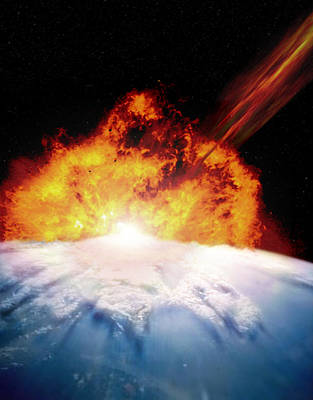 Destruction Digital Art - Illustration Of An Asteroid Colliding With Earth by Photodisc