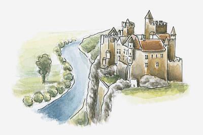 Building Exterior Digital Art - Illustration Of Chateau De Beynac, Beynac-et-cazenac, Dordogne, France by Dorling Kindersley