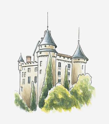 Building Exterior Digital Art - Illustration Of Chateau De Mercues, Mercues, Lot, France by Dorling Kindersley