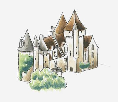 Building Exterior Digital Art - Illustration Of Chateau Des Milandes, Dordogne, France by Dorling Kindersley