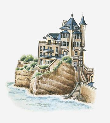Building Exterior Digital Art - Illustration Of Villa Belza, Biarritz, Pyrenees-atlantiques, France by Dorling Kindersley