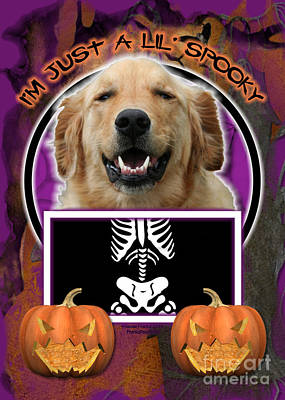 I'm Just A Lil' Spooky Golden Retriever Print by Renae Laughner