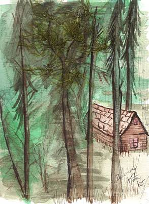 Park Scene Drawing - Imaginary Cabin by Windy Mountain