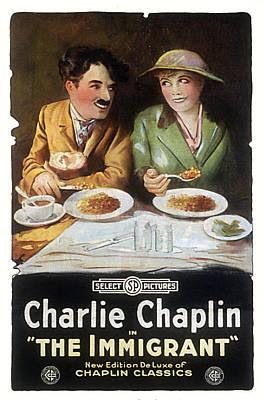 Immigrant, Charlie Chaplin, Edna Print by Everett