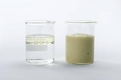 Liquid Emulsion Photograph - Immiscible Liquids Demonstration by Trevor Clifford Photography
