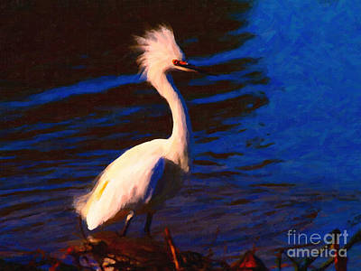 Egret Digital Art - Impressions Of A Snowy Egret . Painterly by Wingsdomain Art and Photography