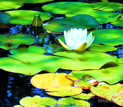 Oil Painting - Impressions Of A White Water Lily by J Jaiam