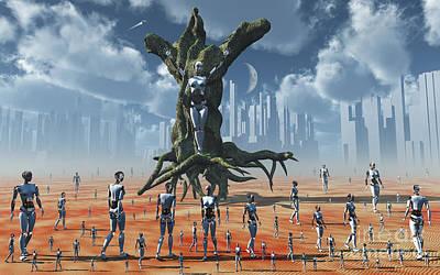 Tree Roots Digital Art - In An Alternate Reality Cyborgs Pay by Mark Stevenson