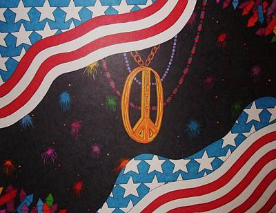 Fireworks Drawing - In Peace We Trust by Steve Boisvert