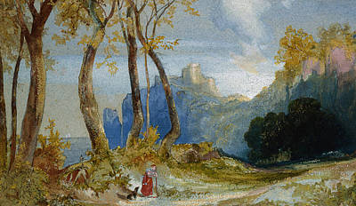 Ink On Paper Painting - In The Hills by Thomas Moran