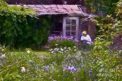 In The Iris Garden Print by Susan Isakson