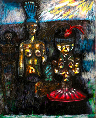 Visceral Mixed Media - In The Lair Of The Stalking Beast   The Twins by Al Goldfarb