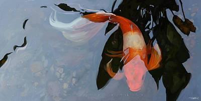 Koi Mixed Media - In The Shadows by Steve Goad