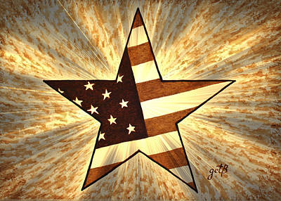 Independence Day Stary American Flag Print by Georgeta  Blanaru